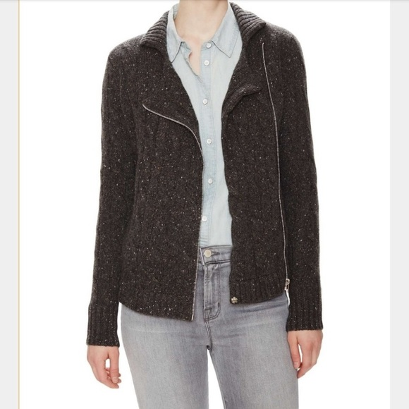Autumn Cashmere Gray Knit Moto Style Cardigan